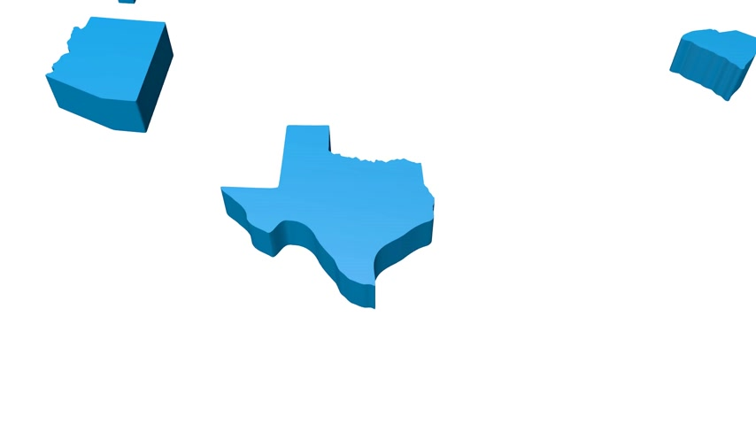iowa : 3D blue map of the USA  (United States of America) Stock Footage