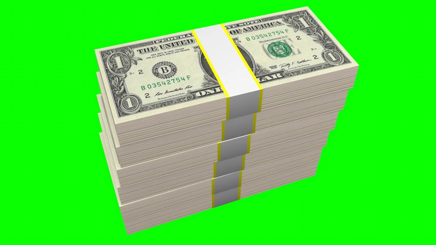 темы : Stacked one dollar bills on green background - great for topics like business, finance etc.