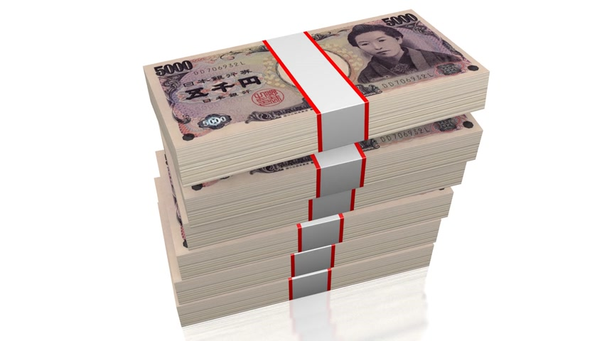 темы : Stacked five thousand yen banknotes - great for topics like business, finance etc.