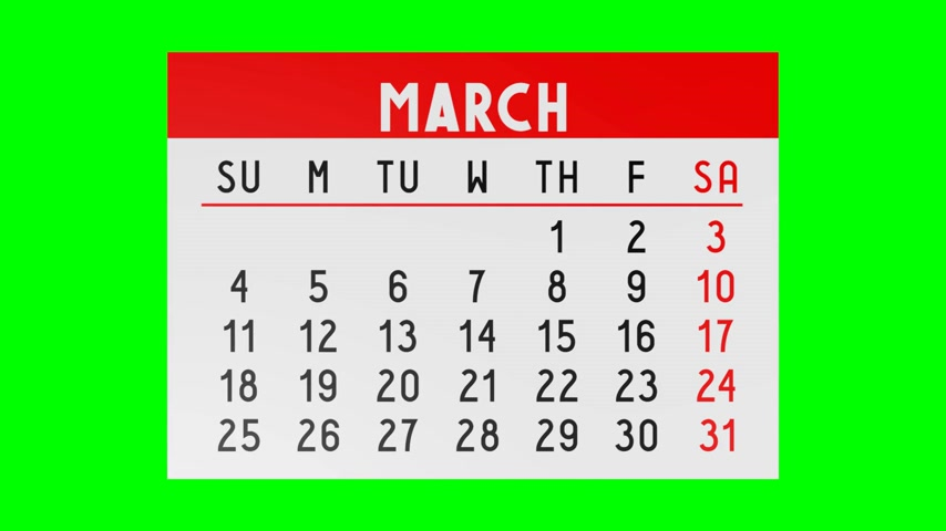 juni : 3D-kalender - greenbox Stockvideo