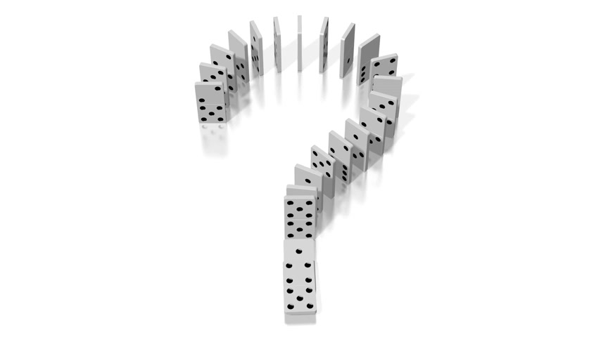 ponto de interrogação : 3D domino effect animation - question mark concept - falling white tiles with black dots.