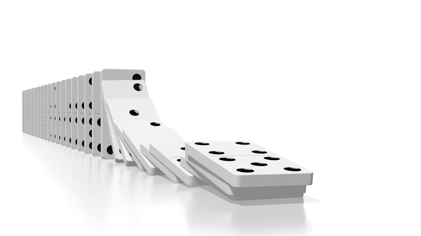 csattanás : 3D domino effect animation - falling white tiles with black dots.