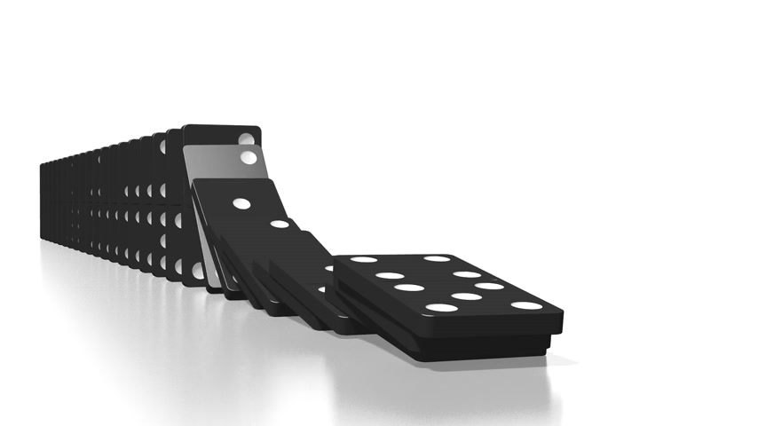 continuidade : 3D domino effect animation - falling black tiles with white dots.