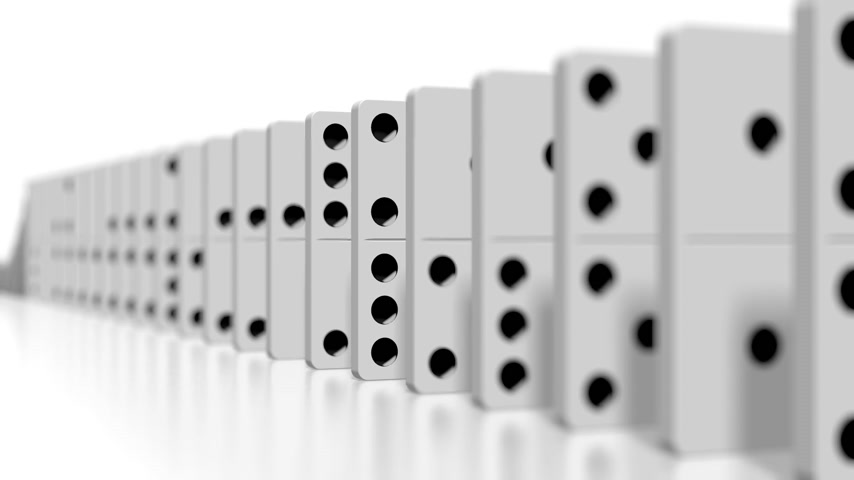 çöküş : 3D domino effect animation - falling white tiles with black dots.