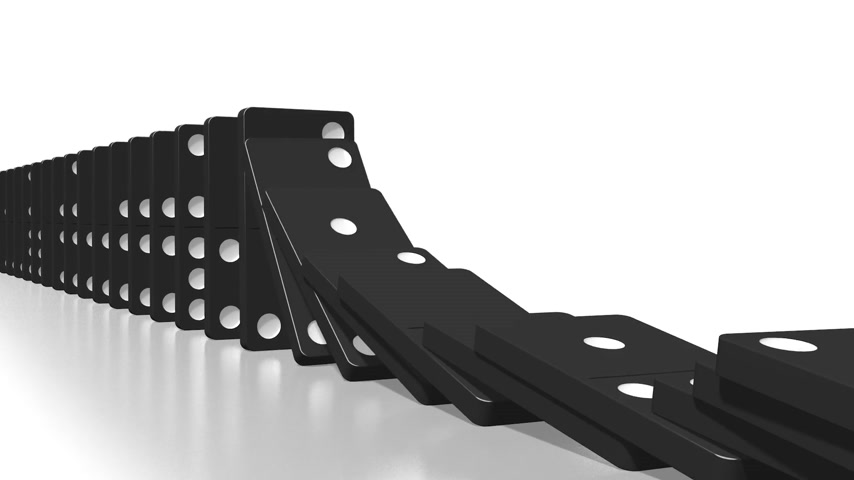 kolaps : 3D domino effect animation - falling black tiles with white dots, following camera.