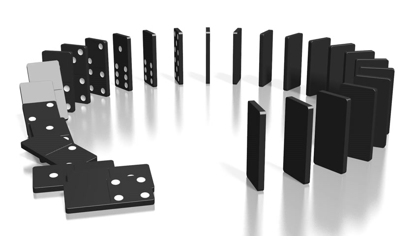 continuidade : 3D domino effect animation - black domino tiles standing in circle fall down. Vídeos