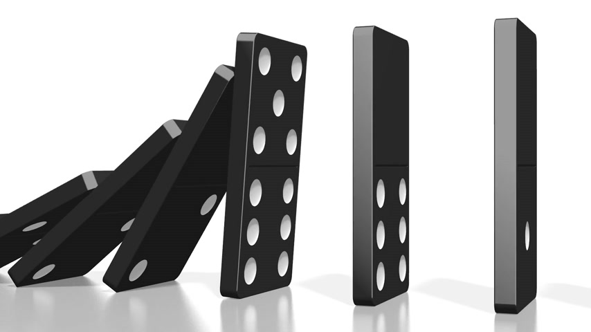 kryzys : 3D domino effect animation - falling black tiles with white dots.