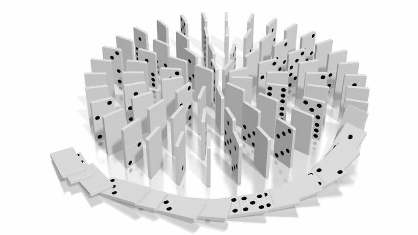 continuidade : 3D domino effect animation - falling white tiles with black dots, spiral shape. Vídeos