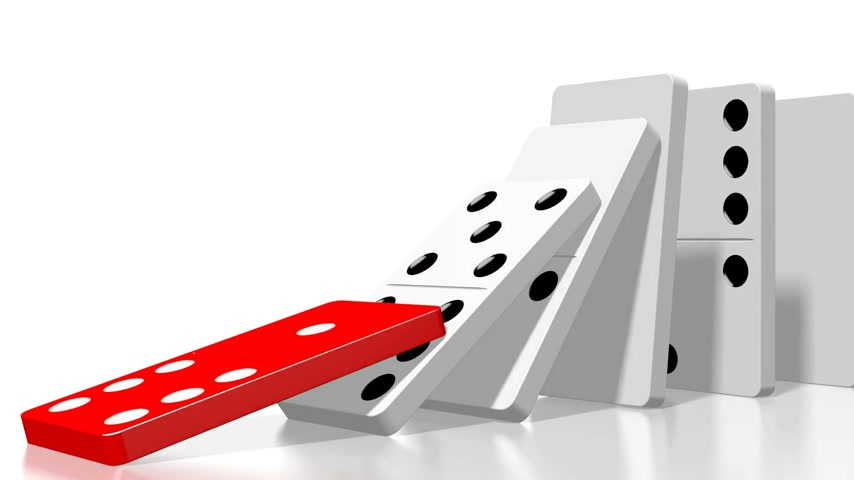 motivo : 3D domino effect animation - falling white tiles with black dots.