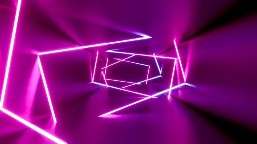 3D 4k abstract tunnel neon lights animation