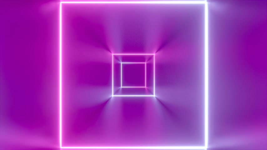 3D 4k abstract tunnel neon animation - moving squares