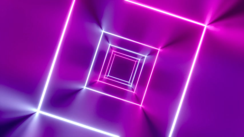 3D 4k abstract tunnel neon animation - rotating squares
