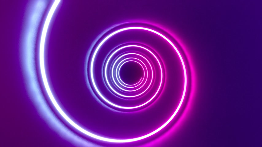 3D 4k abstract tunnel neon animation - spiral shape Stock mozgókép