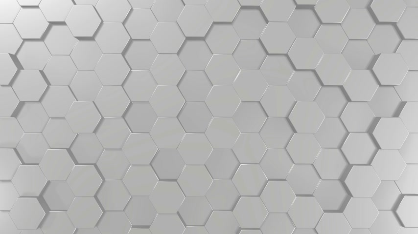3D 4k abstract background with hexagon tiles - black and white monochromatic