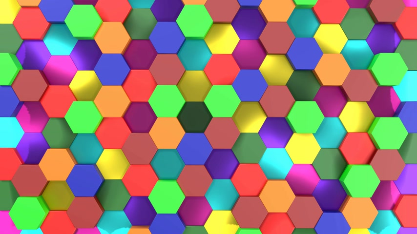 3D 4k abstract background - colorful rainbow hexagon tiles