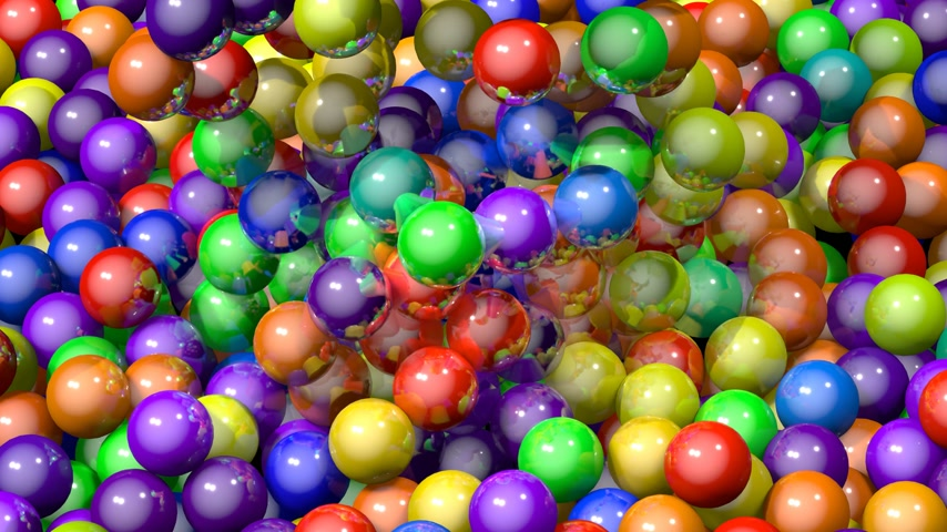 3D 4k many colorful balls spheres falling down