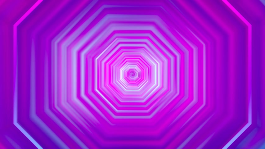 3D 4k abstract tunnel neon animation - moving octagons