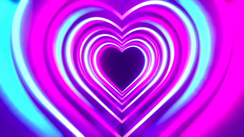 3D 4k abstract tunnel neon animation - heart shapes - love concept