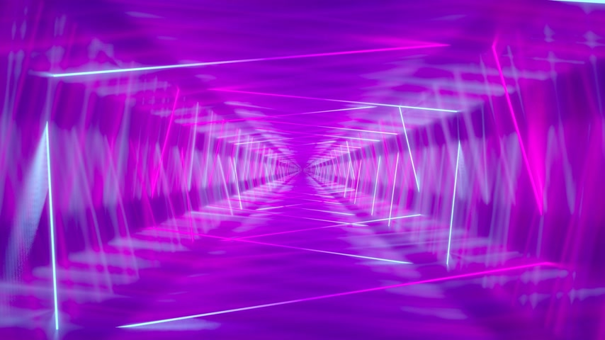 3D 4k abstract tunnel neon animation - moving rectangles Stock mozgókép