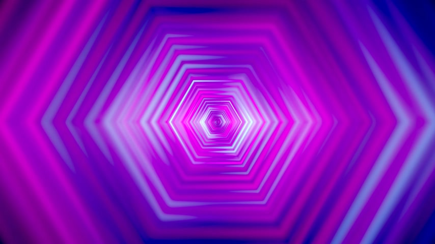 3D 4k abstract tunnel neon animation - moving hexagons