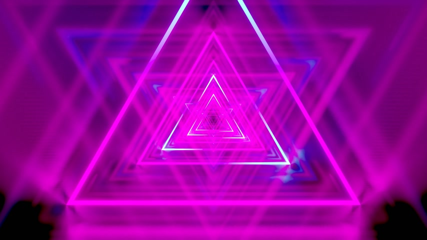 3D 4k abstract tunnel neon animation - moving triangles