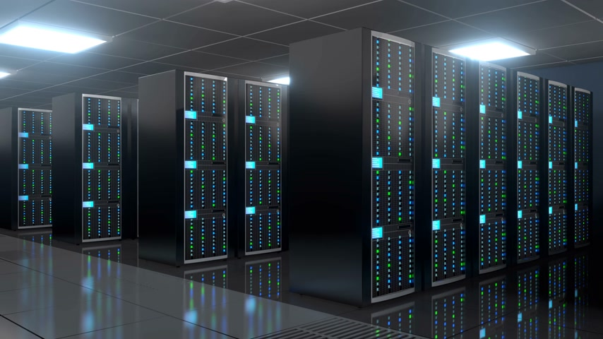 evsahibi : 3D 4K server room - data center - storage hosting concept.