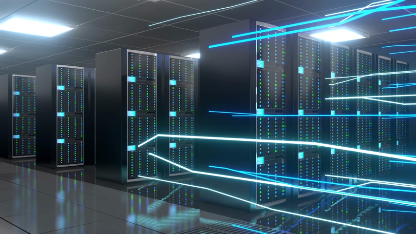 3D 4K server room - data center - storage hosting concept.