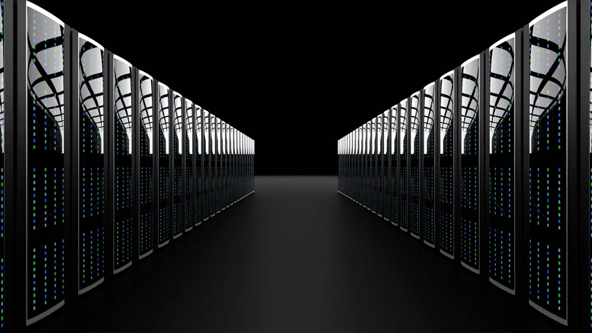 razzia : 3D 4K server room - data center - storage hosting concept.