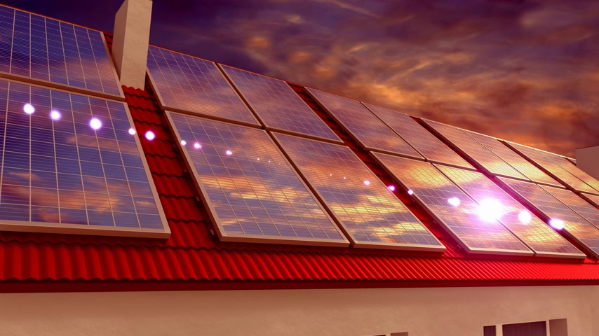 kolektor : Solar panels installed on a roof, sunset sky - 3D 4k animation
