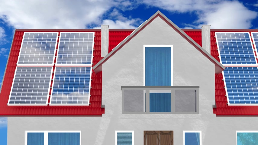 kolektor : House with solar panels installed on a roof - 3D 4k animation