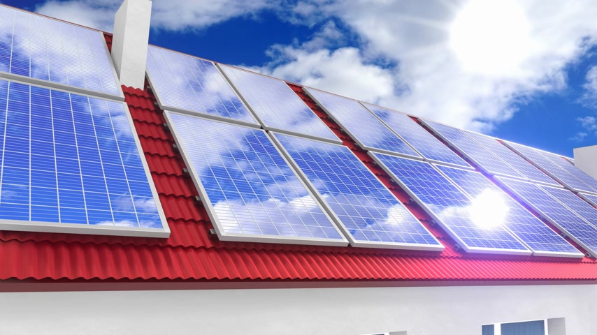 photovoltaic : Solar photovoltaic panels installed on a roof - 3D 4k animation Stock Footage