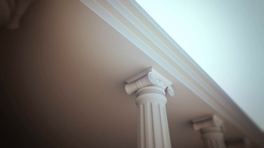 kolumny : Classical white Greek style columns. CG loopable animation. Wideo