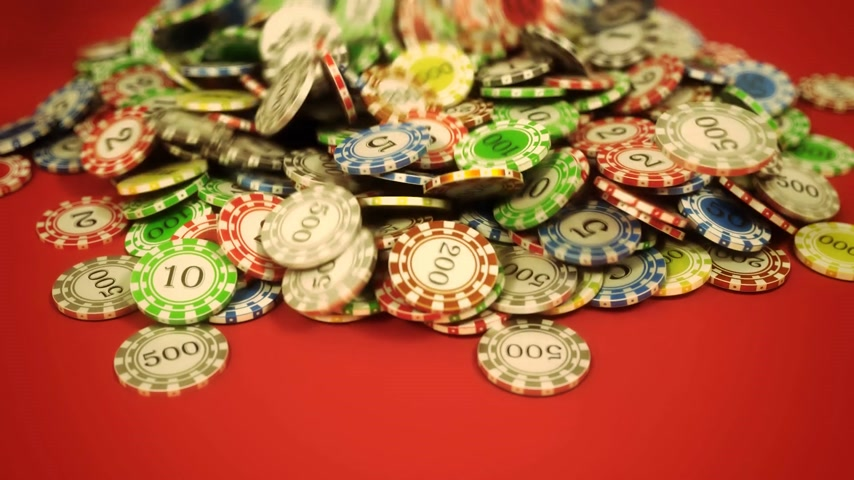 good luck coins : High quality 3d animation of gambling chips falling on the red background. High stake win.