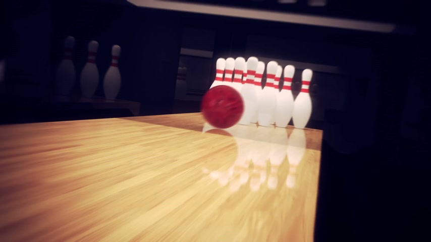 mísa : Red bowling mall making a strike in 10 pin bowling. CG animation.