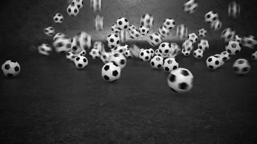fotbal : A lot of soccer balls bouncing and rolling towards camera.