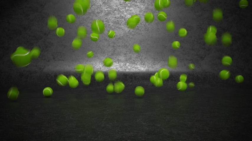 múltiplas : A lot of tennis balls bouncing and rolling towards camera.