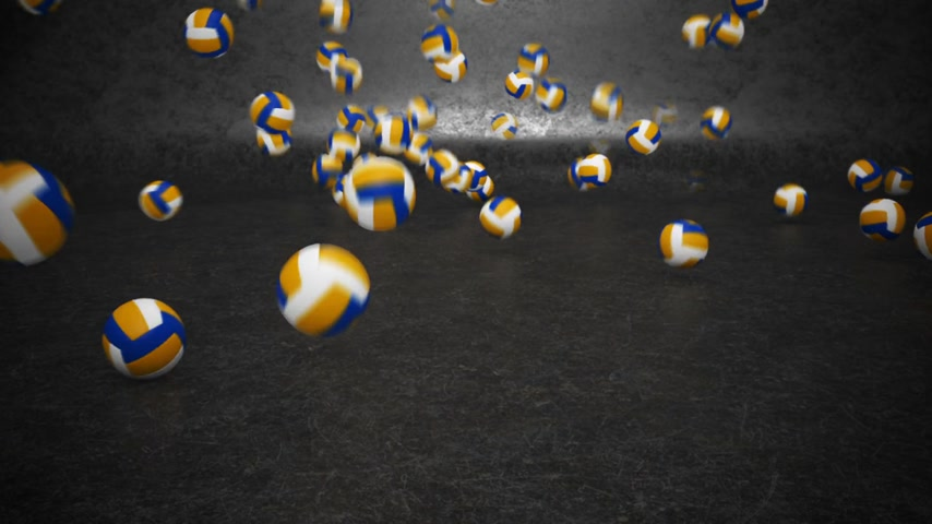 volleyball : A lot of volleyballs bouncing and rolling towards camera.