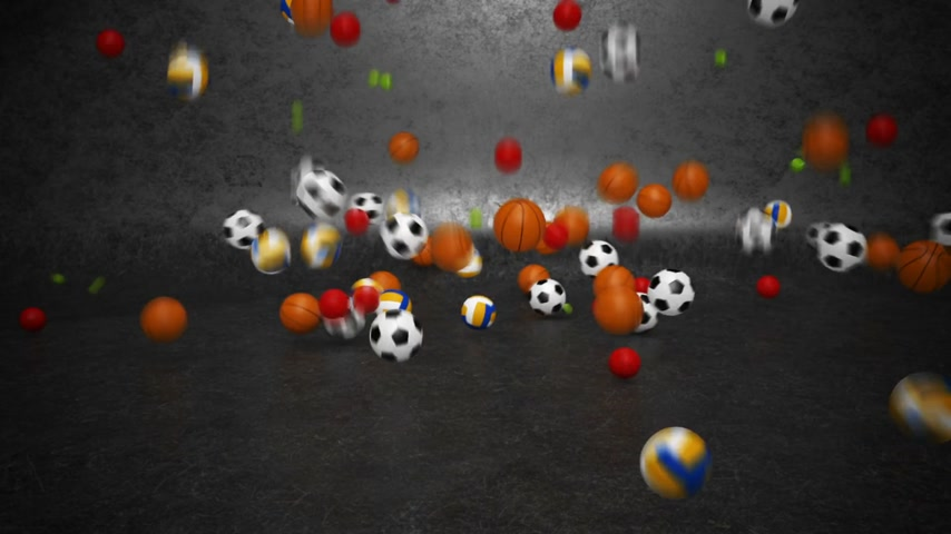 volleyball : A lot of sport balls bouncing and rolling towards camera. Stock Footage