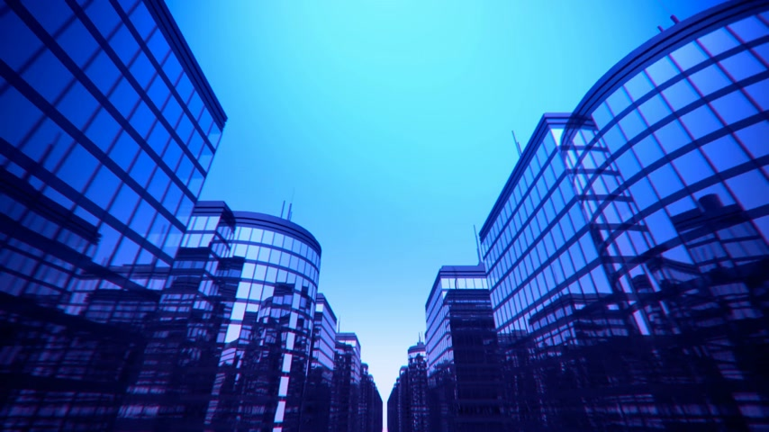устойчивость : Skyscrapers animation from street point of view.