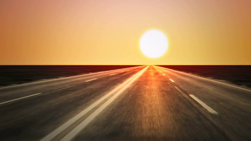droga : Loopable endless road animation. Low shot. Sunset Wideo