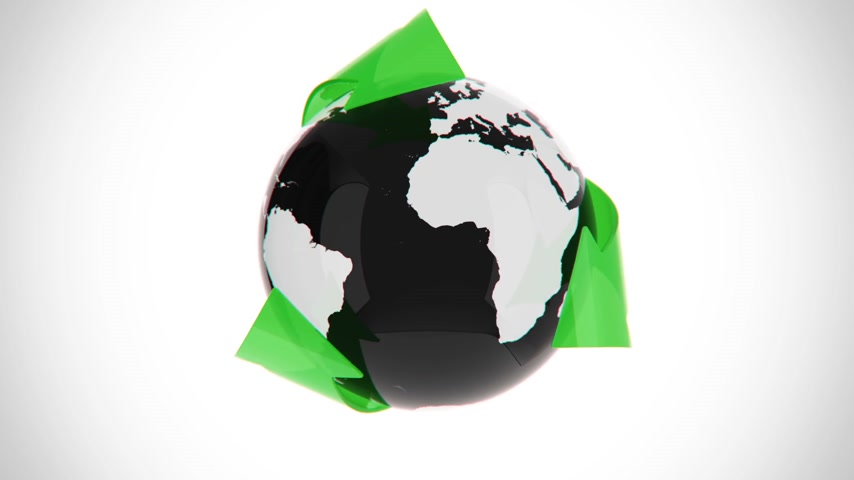 eko : Recycling conceptual arrows surrounding simplified planet  on white background.