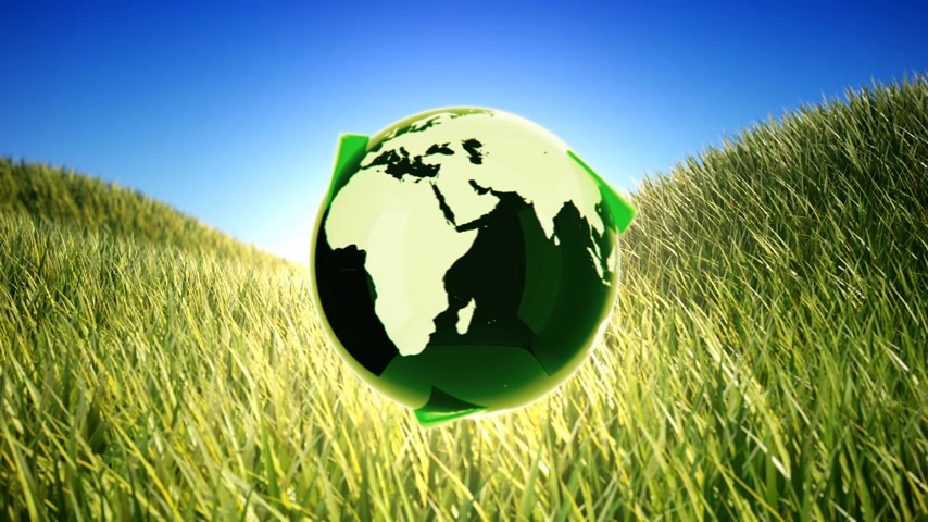отходы : Recycling planet on green field background.