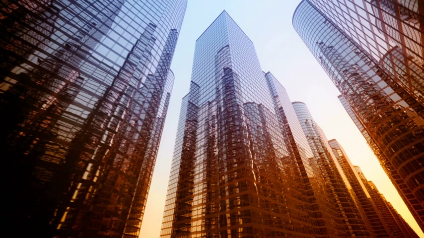 corporativa : Big city glass buildigs during sunset. Animation.