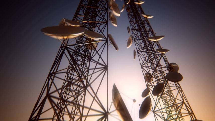 gotículas : Loopable animation of endless communication tower. Stock Footage