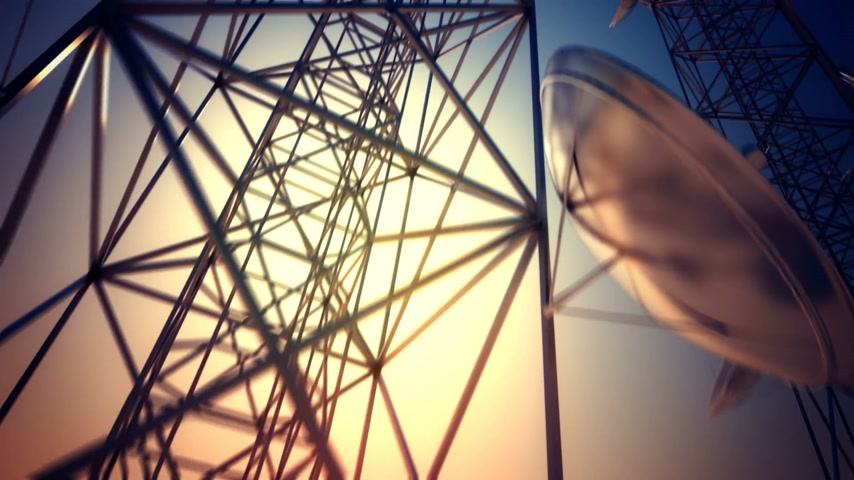 клетка : Loopable animation of endless communication tower. Стоковые видеозаписи