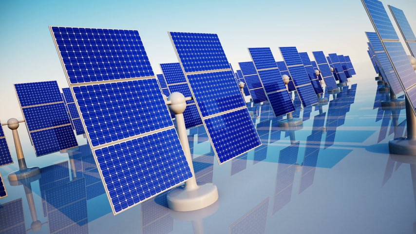 e : Animation of sunny solar panels in a solar power station.