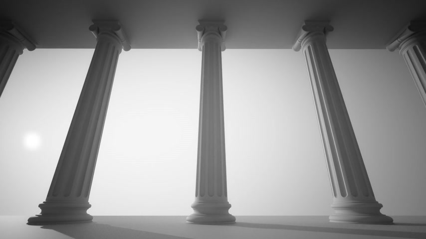 supremo : Classical white Greek style columns. CG loopable animation. Vídeos