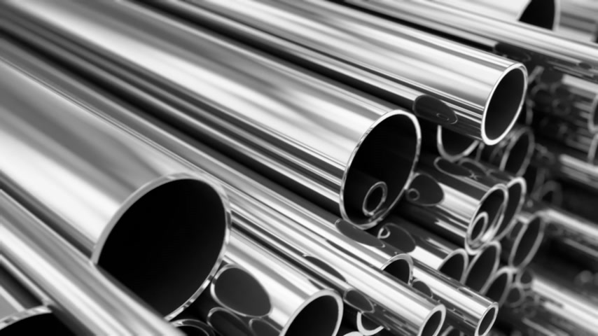 tüp : Close up on stack of steel pipes. Loopable animation.
