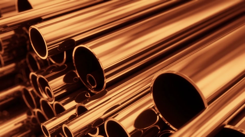 медь : Close up on stack of copper pipes. Loopable animation.