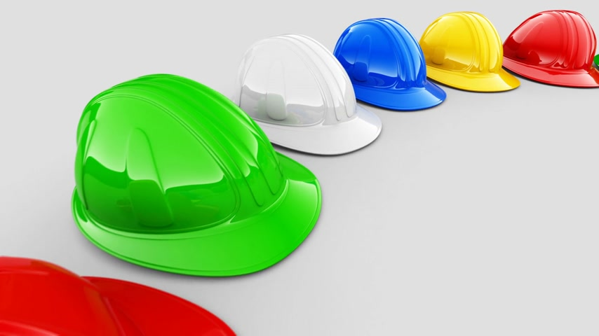 helmets : Loopable animation of yellow colorful helmets shaping the circle. Stock Footage